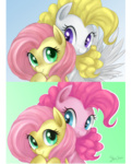 fluttershy g1 generation_leap hugs mn27 pinkie_pie posey surprise