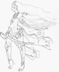 cape humanized lineart princess_celestia sword weapon xellikat