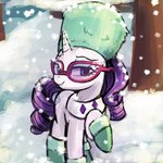 boots coat glasses hat lumineko rarity snow snowing tree ushanka winter
