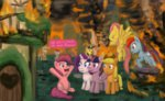 applejack background_ponies diamond_tiara fire fluttershy main_six mayor_mare on_fire pinkie_pie ponyville princess_twilight rainbow_dash rarity smoke twilight_sparkle unsavorydom