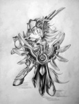 armor discommunicator grayscale helmet league_of_legends leona ponified shield sword weapon