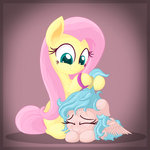 absurdres brush cozy_glow fluttershy highres vectorvito
