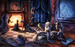 book derpy_hooves fireplace mural original_character skeleton spider ziom05