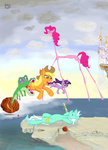 applejack badzerg canterlot dream_caused_by_the_flight_of_a_bee_around_a_pomegranate_a_second_before_awakening gummy livestream lyra_heartstrings parody pinkie_pie rainbow_dash salvador_dali twilight_sparkle