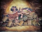 absurdres book digiral highres magic princess_twilight traditional_art twilight_sparkle
