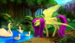 collaboration fluttershy mykegreywolf pond swan tree water xormak