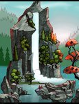 absurdres bindle black_bars chocolatesun highres scenery spike waterfall