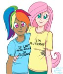 flutterdash fluttershy hugs humanized ponett rainbow_dash shipping
