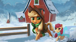 apple_bloom applejack hierozaki highres scarf snow sweet_apple_acres