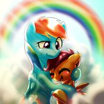 behind-space hugs rainbow rainbow_dash scootaloo