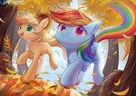 applejack autumn highres leafywind rainbow_dash running_of_the_leaves trees