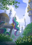 canterlot guard_pony highres plainoasis princess_celestia spike twilight_sparkle