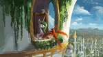 canterlot flowers highres philomena plainoasis princess_celestia scenery