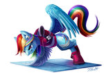Post 66196, tags: exercise, headphones, rainbow_dash, shirt, tsitra360, rating:Safe, score:9, user:Geomancing