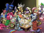 angel applejack book costume derpy_hooves discord dungeons_and_dragons fluttershy gilda gummy highres iron_will johnjoseco lyra_heartstrings main_six octavia_melody octaviapus peewee pencil pinkie_pie princess_celestia princess_luna rainbow_dash rarity scepter spike twilight_sparkle twilights_scepter zecora
