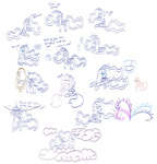 angel carrot cloud crossover doctor's_mirror headphones lineart magic majora's_mask mirror nightmare_moon pie princess_celestia princess_luna robbaz sketch the_legend_of_zelda twist westy543 young