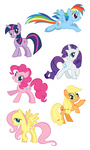 applejack artist_unknown fluttershy highres main_six pinkie_pie rainbow_dash rarity svg twilight_sparkle vector