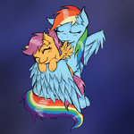 ichibangravity preening rainbow_dash scootaffection scootaloo