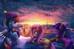 absurdres atlas-66 fluttershy hat highres house ponyville princess_twilight rainbow_dash scarf snow twilight_sparkle winter
