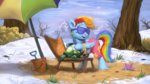 assasinmonkey beach_chair bucket glasses highres patrick_the_seastar rainbow_dash screencap_redraw shorts snow spongebob_squarepants sunglasses tank umbrella