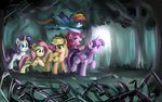 applejack colorfulcolor233 everfree_forest fluttershy forest main_six pinkie_pie princess_twilight rainbow_dash rarity twilight_sparkle