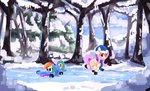 absurdres fluttershy hat highres ice ice_skates rainbow_dash scarf snow thefloatingtree trees