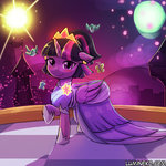 bird butterfly canterlot dress lumineko nighttime princess_twilight tears twilight_sparkle