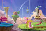 cloud discord emeraldgalaxy fluttershy highres house scenery tree