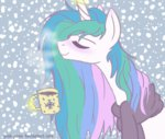 magic mug pink-pone princess_celestia scarf snow snowing winter