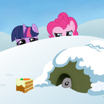bunny cake muffinsforever pinkie_pie snow twilight_sparkle winter winter_wrap_up