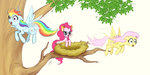 fluttershy flying nest pegasi_acting_like_birds pinkie_pie rainbow_dash tree zetamad