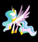 highres kimdragon321 princess_celestia white_on_black