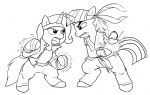 bandana c0nker crossover king_of_fighters kyo_kusanagi lineart ryu street_fighter the_great_and_powerful_trixie twilight_sparkle