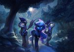 absurdres bat_pony guard_pony highres hunternif moon nighttime princess_luna trees