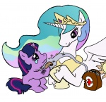 bandage elosande filly injured magic princess_celestia twilight_sparkle