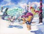 apple_bloom cutie_mark_crusaders hat magic ponyville scarf scootaloo snow snowball snowball_fight sweetie_belle the-wizard-of-art traditional_art tree winter