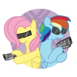 fluttershy glasses gun petit-squeak rainbow_dash sunglasses weapon