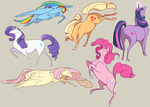applejack bunny fluttershy horselike main_six pinkie_pie rainbow_dash rarity scrii twilight_sparkle