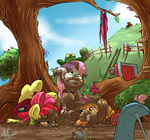 apple_bloom atryl butterfly cutie_mark_crusaders dragonfly frog mud scootaloo scooter sweetie_belle wagon