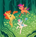 apple_bloom astro_eden cutie_mark_crusaders forest scootaloo sweetie_belle trees