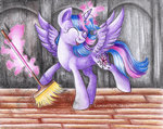 absurdres broom highres lunar-white-wolf magic princess_twilight sweep_sweep_sweep traditional_art twilight_sparkle