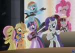 applejack band bipedal drums flute fluttershy guitar main_six pinkie_pie rainbow_dash rarity shamisen template93 twilight_sparkle