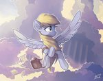bag cloud derpy_hooves flying freeedon highres letter