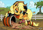applejack apples bandana barrel boots fence flowers shira-hedgie tree