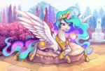 cup fountain magic pillow princess_celestia teacup the-keyblade-pony trees