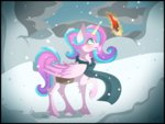 derpsonhooves grown_up highres magic princess_flurry_heart scarf snow snowing winter