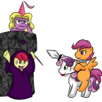 apple_bloom bridle castle costume cutie_mark_crusaders kloudmutt pony_ride_the_pony riding scootaloo spike staff sweetie_belle sword vengeancemanifesto weapon