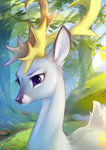 deer highres princess_celestia species_swap tomatocoup trees