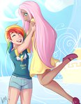 emberfan11 flutterdash fluttershy humanized rainbow_dash shipping