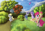 calenita derpy_hooves kite maud_pie pinkie_pie pizza starlight_glimmer